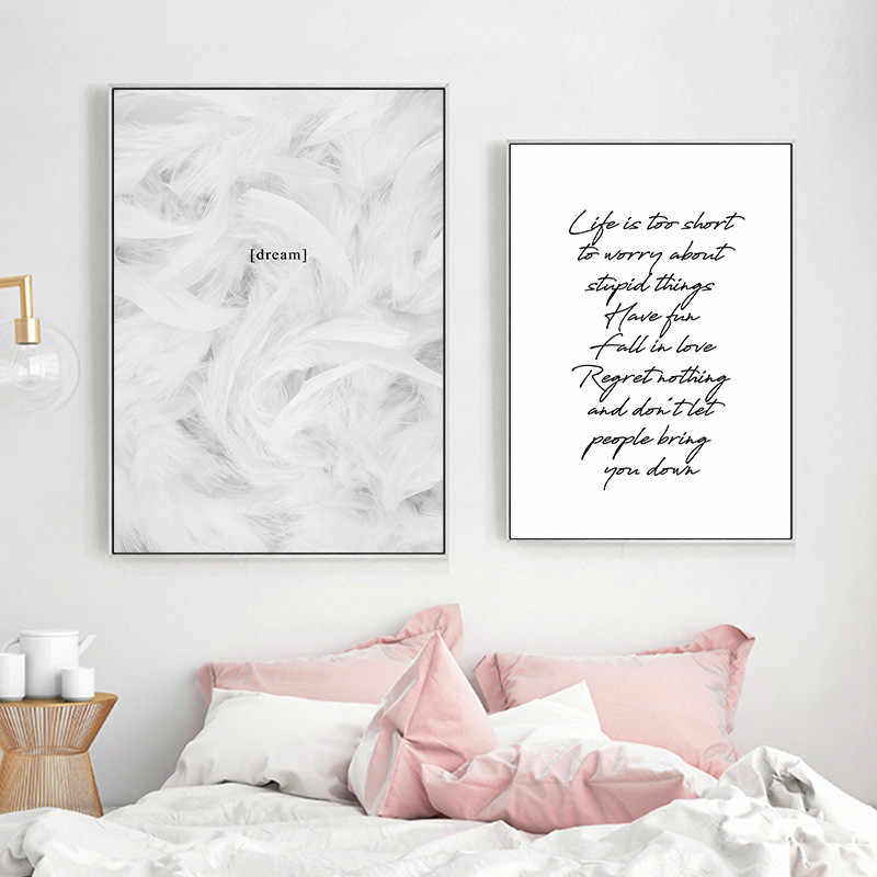 Black White English Words Quote Wall Pictures Art Print Canvas Painting Feather Poster Art Wall Decor HD2715