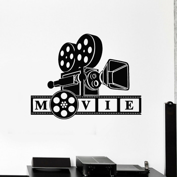 Retro Film Vinyl Wall Decal Cinematography Camera Movie Lover Filming Room Stickers Home Living Room Bedroom Decor WallpaperP100 image