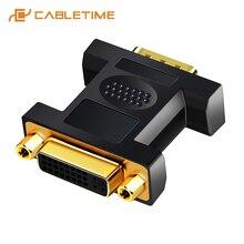 Cabletime vga macho para dvi 24 + 5 pinos conversor fêmea dvi para vga adaptador 1080 banhado a ouro dvi conversor forcomputer computador portátil c11