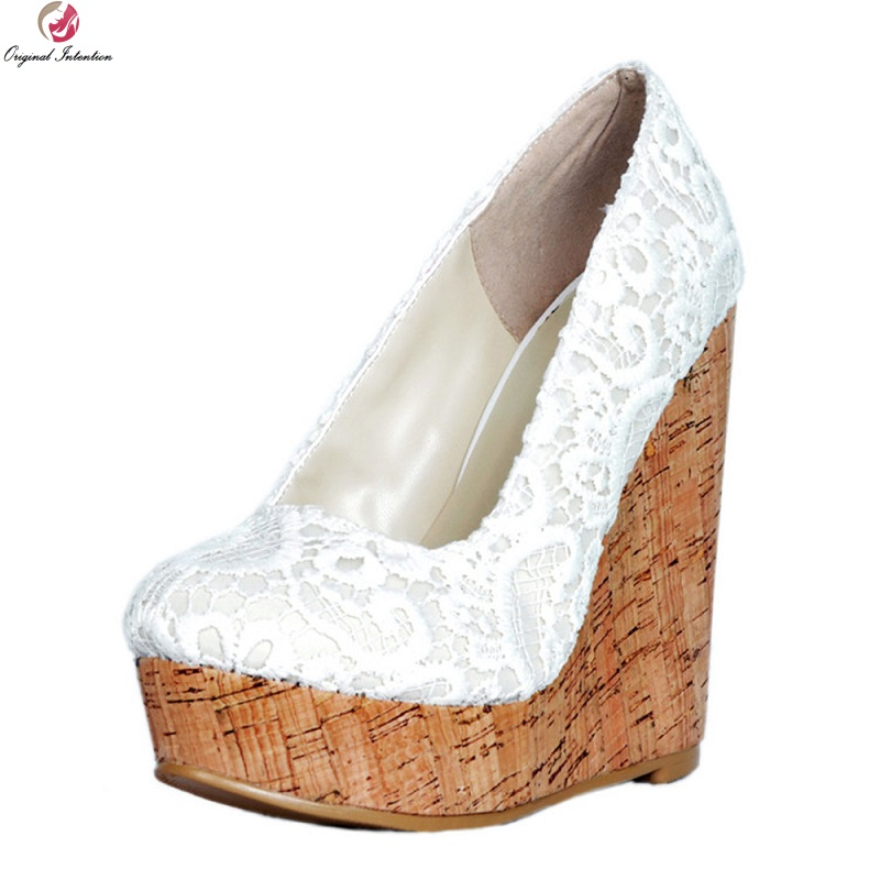 Original Intention populaire femmes pompes plate-forme Wedge Sexy bout rond talons hauts chaussures femme mariage pompes Plu taille 4-15