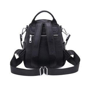 Image 4 - Fengdong mulher mini saco de couro genuíno mochila anti roubo preto pequeno bolsa de ombro de couro feminino mochila viagem menina backbag