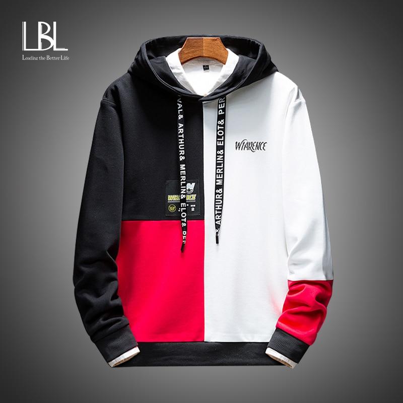 Men's Hoodies Oversized Patchwork Print Harajuku Japanese Streetwear Hip Hop Sweatshirts 2020 Black White Hoodie Men Clothing