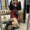 Preppy style Gothic Womens Girls Vintage Plaid Dress Patchwork Puff Sleeve Sexy Party Female Mini Short Dresses 4