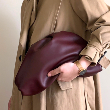 clutch bag cloud bag solid color first layer soft leather fold dumpling bag shoulder crossbody bag brown leather look solid color clutch bag