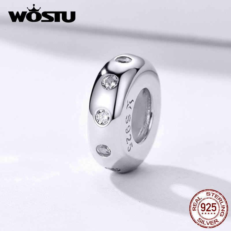 Wostu Stopper Pengatur Jarak Manik-manik 100% 925 Sterling Silver Kucing Bulu Bulat Pesona Fit Asli Gelang DIY Perhiasan Aksesoris