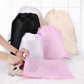 Protect Waterproof Package Shoe storage bag organizer Non-woven fabric Draw pocket Drawstring Toiletry bags pouch image