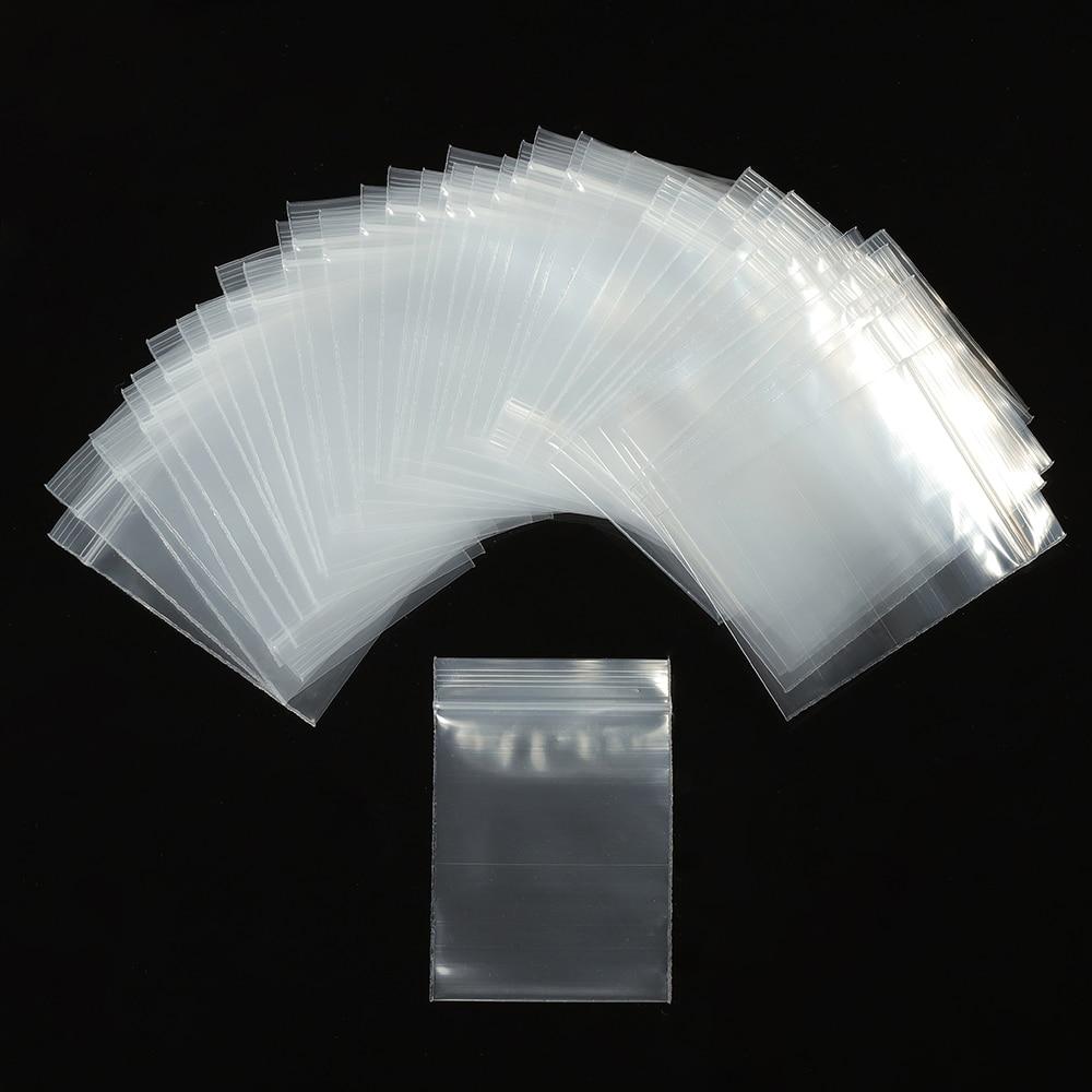 100pcs Transparent Sachet Zip Self Sealing Z Zipper Lock Plastic Bags Clear Ziplock Bags Jewelry Packaging Thickness 0.12mm