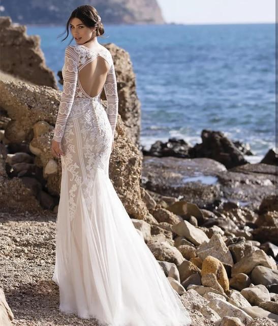 Beach Mermaid Wedding Dresses 2021 V-Neck Long Sleeve Lace Appliques Backless Tulle Bride Gown Sweep Train Vestidos De Noiva 2