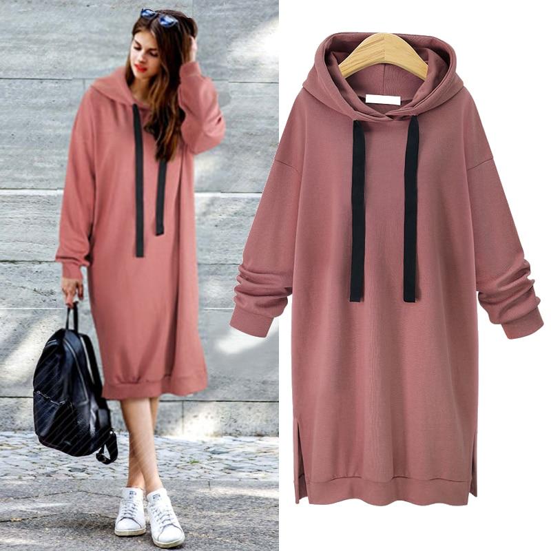 2019 Autumn Winter Women Hoodies Casual Side Split Long Sleeve Slim Plus Thick Sweatshirt Dress Pullover Long Drawstring Hoodie