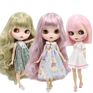 DBS bjd ICY blyth doll white dark skin joint body glassy matte face Can Changed Makeup and Dress DIY special 1/6 doll(China)