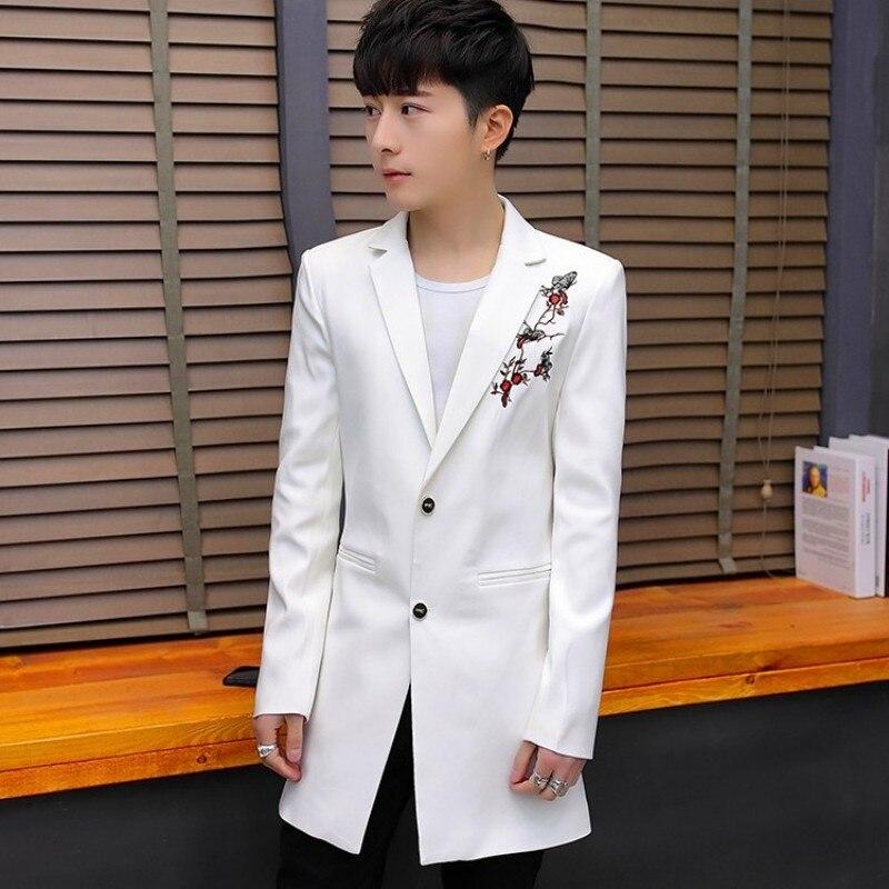 Brand Men Medium Long Windbreaker Fashion Single Button Blazer Male Black Embroidery Long Sleeve Slim Casual Suit Jacket M-3XL