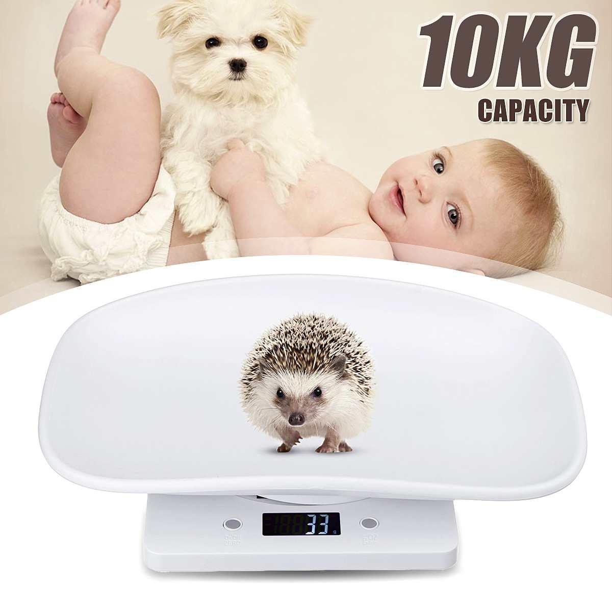 10kg / 1g Multi-function Digital Electronic Small Pet Animals Balance Newborn Baby Scale 18x29x5.8cm
