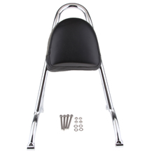 Motorcycle Rear Passenger Backrest Sissy Bar Cushion Pad with Mounting Kit for Harley Sportster XL1200 883 04-16, Chrome