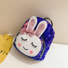 2019 New style sequin children backpack Korean version backpack for 3-6 years old baby Cartoon rabbit Children's schoolbag(China)
