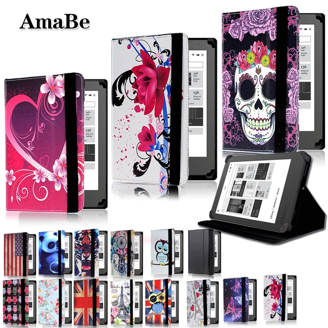 Anti-Dust Print Leather Tablet Stand Cover Case Voor 6 Inch Kobo Glo/Clara/Touch Ereader Tablet beschermende Shell