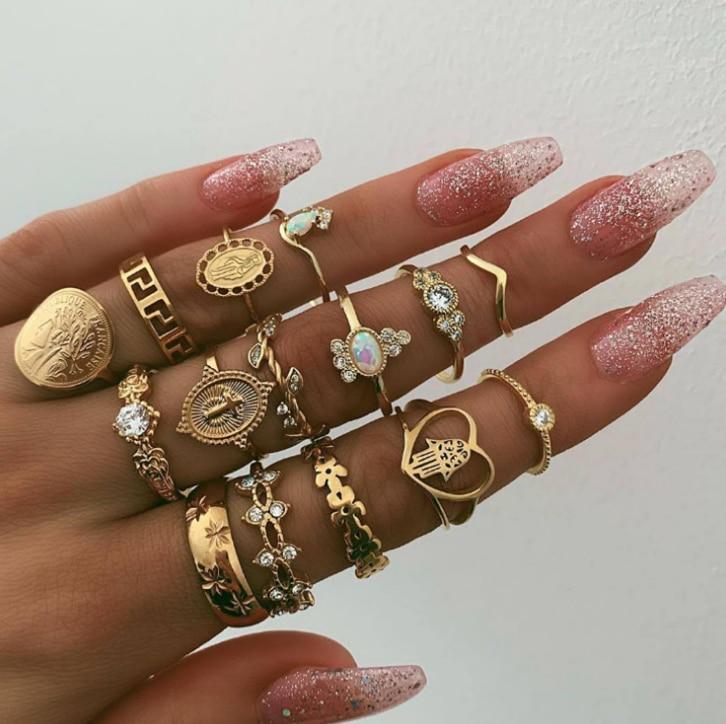 9 Design Boho Dell'annata Oro Star Midi Luna Anelli Set Per Le Donne di Cristallo Opalino Midi Anello di Barretta 2019 Della Boemia Femminile gioielli Regali