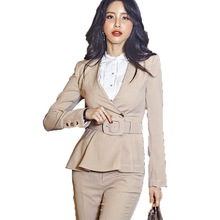 2019 New Korean OL Elegant Blazers With Belt Waist Slimming Suit Jackets Office