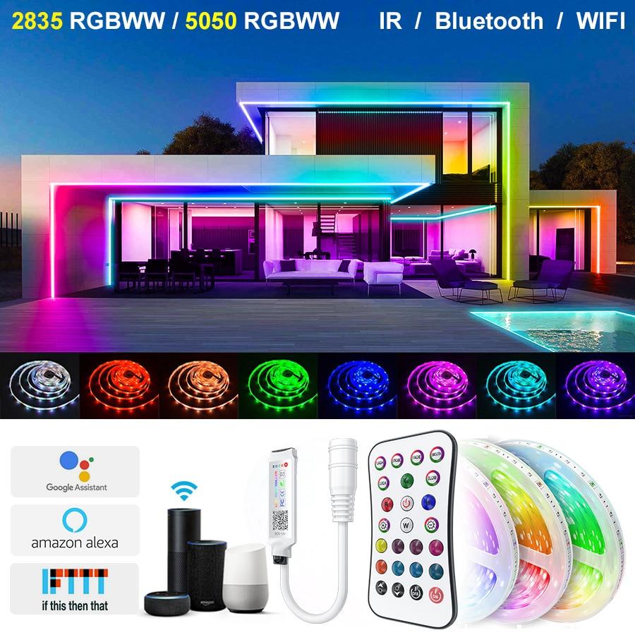 5M-30M diody na wstążce Alexa inteligentne sterowanie głosem Wifi Bluetooth 2835 5050RGBWW diody Led wodoodporna elastyczna taśma wstążkowa dioda