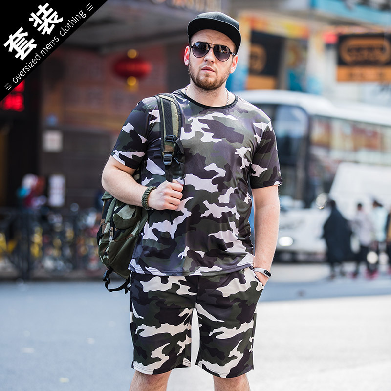 Summer New Style Men's Plus-sized Casual Camouflage Set Lard-bucket Printed T-shirt Men'S Wear Quick-Dry Two-Piece Set