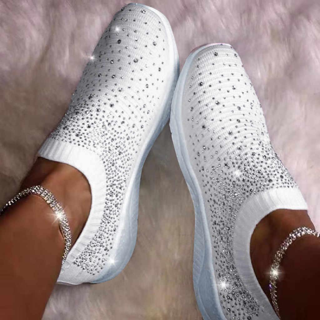 Frauen Damen Ankle Flachem boden Schuhe Frau Flach Faulenzer Kristall Mode Bling Turnschuhe Casual Winter Schuhe Dropshipping