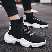 Breathable Height Increasing 5.5cm Mens Sock Sneakers Men high top fashion casual shoes Men chaussures lace up zapatillas hombre