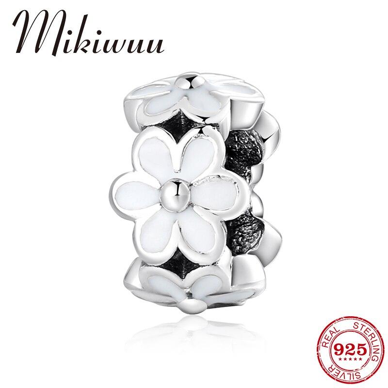 925 Sterling Silver Spring Flowers White Enamel Spacer Beads Diy Accessories Jewelry Making Fit Original Pandora Charm Bracelet