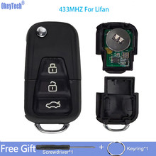 OkeyTech 3 Buttons 433Mhz Flip Folding Car Remote Control Key For Lifan X60 X50 Replacement Remote Key With Uncut Blade