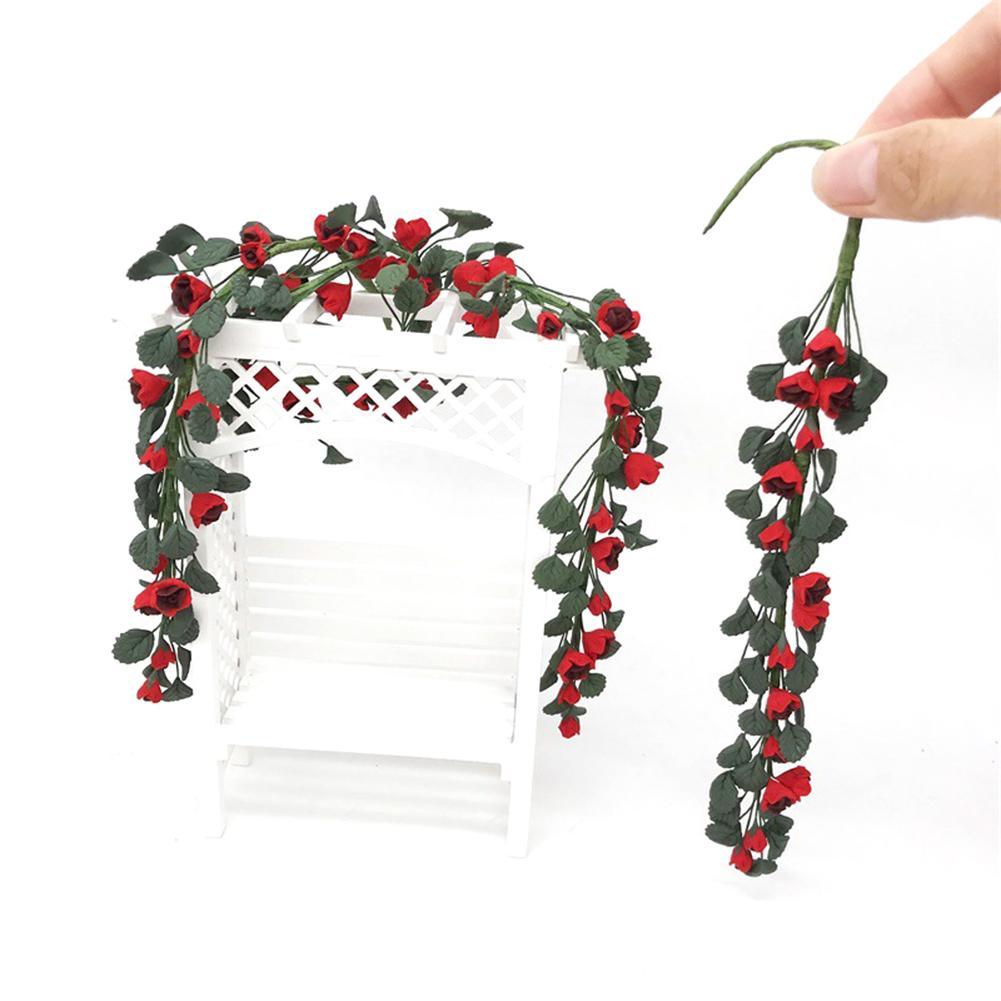 1/12 Fake Rose Simulation Flower Branch Garland House Garden Ornaments Doll