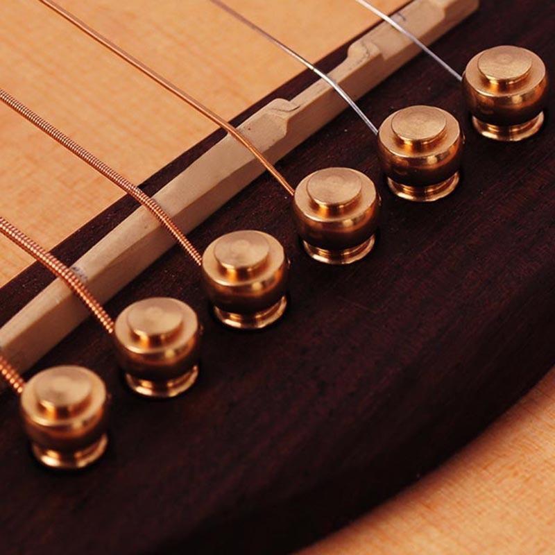 6pcs/set Professional Classical Style Acoustic Guitar Bridge Pin Musical Metal Brass Circle For Folk Guitar Replacement Accessor