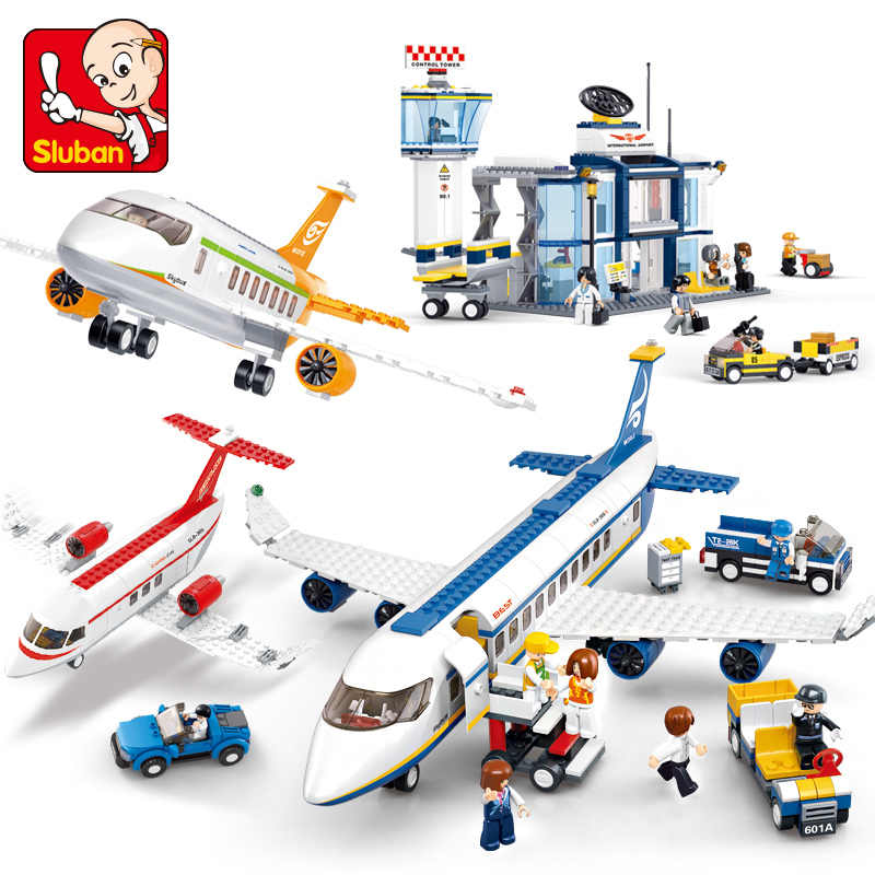 Ville Avion technique Cargo Avion aéroport Airbus Avion LegoINGs blocs de construction ensembles chiffres Juguetes bricolage Brinquedos enfants jouets