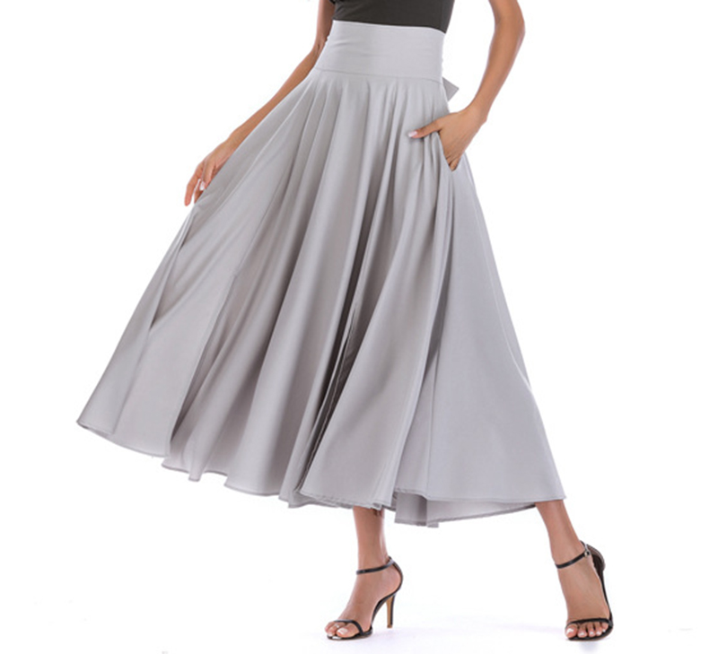 2020 New Fashion  Women Long Skirt Casual Spring  Summer Skirt womens Elegant Solid Bow-knot A-line Maxi Skirt Women Cothes (7)