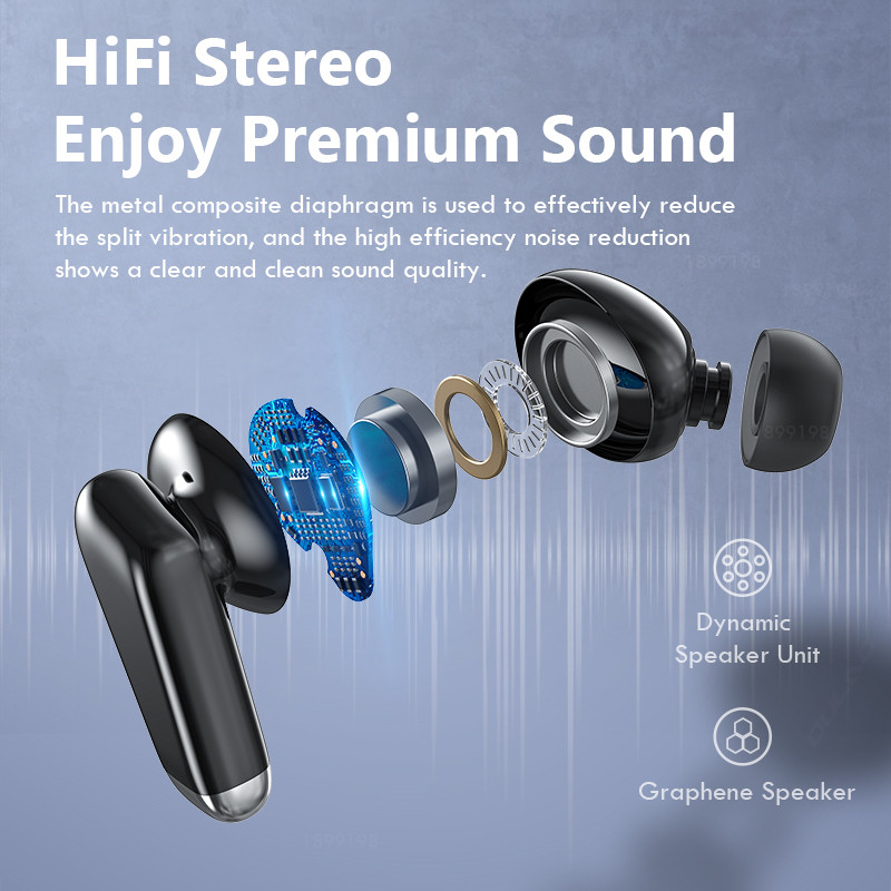 Mini Bluetooth 5.0 Earphone LED Display Waterproof Wireless Headphone Hifi Stereo Noise Reduction Earbuds Headsets Touch Control