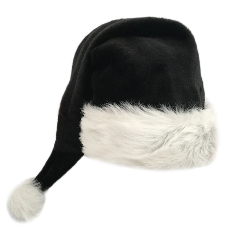 75cm Adult Black Plush Long Christmas Hat Xmas Costume Pompom Santa Claus Cap