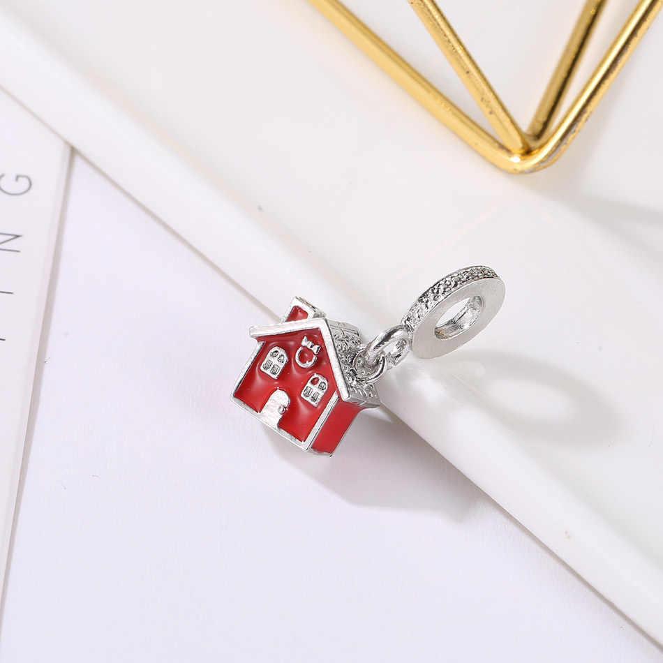 Posrebrzany koralik czerwony dom świąteczny srebrny wisiorek Fit bransoletka pandora bransoletka dla kobiet DIY biżuteria