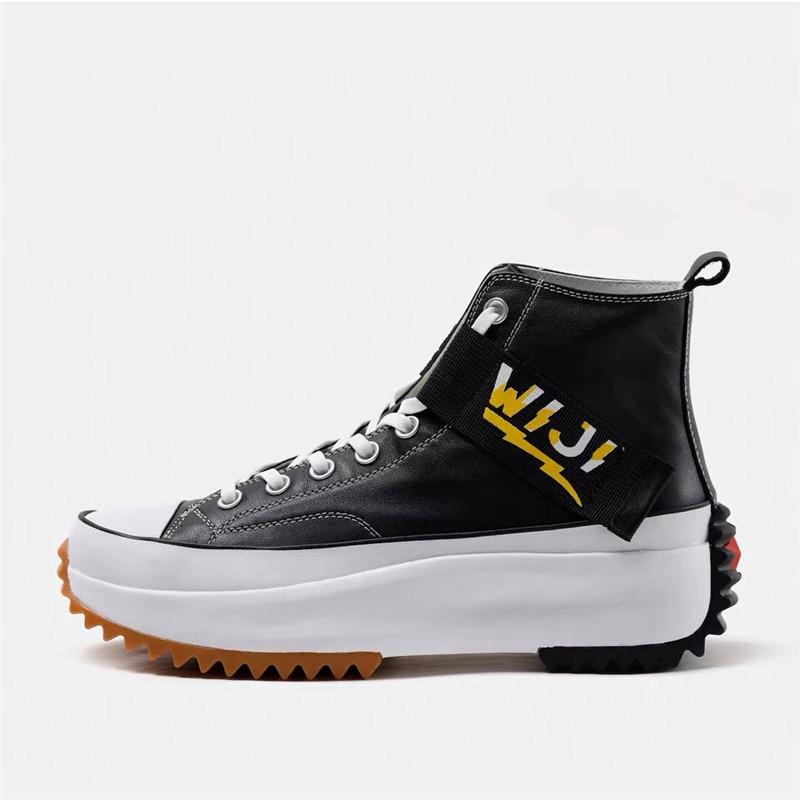 Nouveau haut haut plate forme baskets noir unisexe en cuir véritable semelle épaisse chaussures homme hauteur augmenter chaussures grosses chaussures de marche hommes - 2