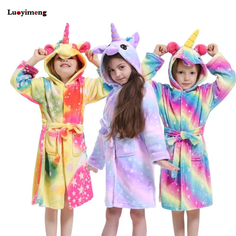 Winter Kids Unicorn Robe For Girls Pajamas Animal Hooded Children Bathrobe Boys Sleepwear Kids Dressing Gown Baby NightGowns