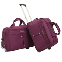 Simple Large Capacity Wheel Trolley Bag Ladies Aircraft Bag Men's Foldable Portable hand Travel Bag Multi-function/Black Purple
