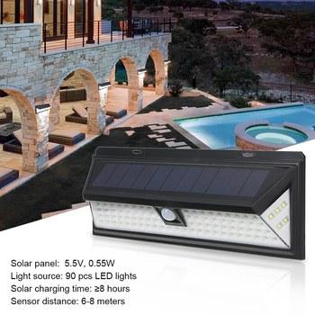 90 LED Solar Power Motion Sensor Wall Light Outdoor Garden Lamp Waterproof Bright Garden Garden Lawn Lamp IP65 Waterproof