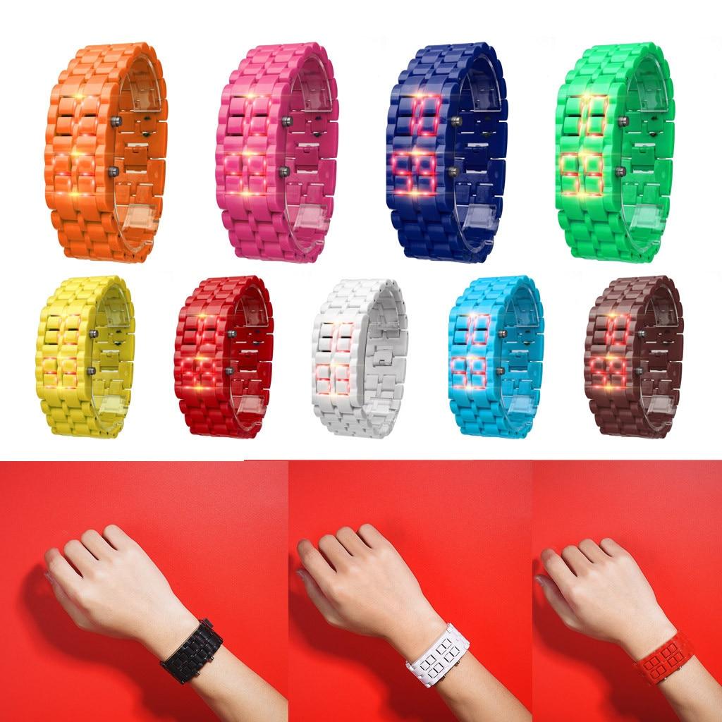 Fashion Men Women Bracelet Watch Waterproof  Iron Samurai Metal Watches LAVA LED Digital Causal Wrist Watch Thanksgiving Gift