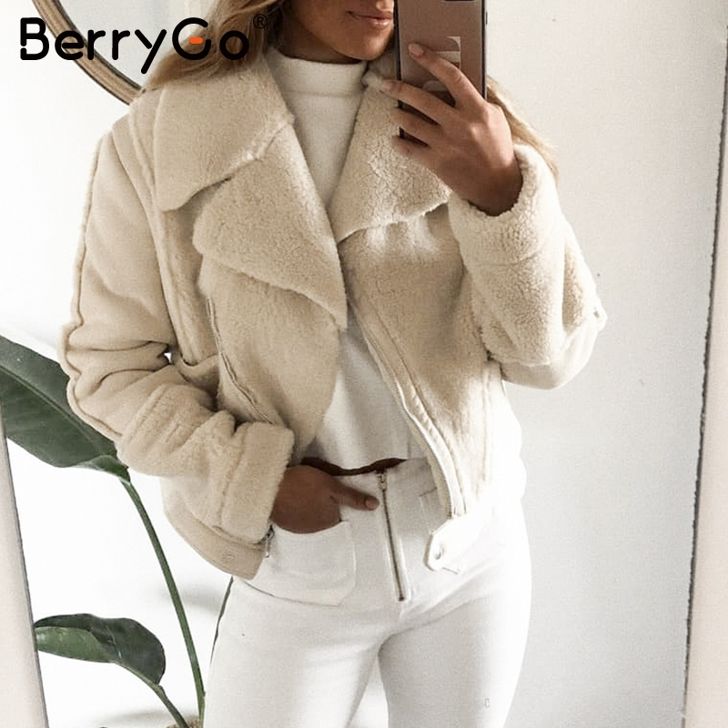 BerryGo Casual patchwork faux fur   leather   coat women Zipper pockets faux female winter jackets Chic ladies warm   suede   overcoats