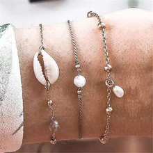 Bead Bracelet Adjustable Sea Shell Set Metal Chain Beach Bohemian Retro Summer Multilayer bransoletka muszelki