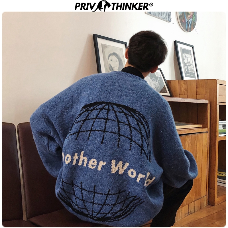 Privathinker Men Jacquard 3 Coloors Autumn Winter Sweaters Mens Korean Fashion O-Neck Pullovers Top Male Warm Clothes 2019 Loose
