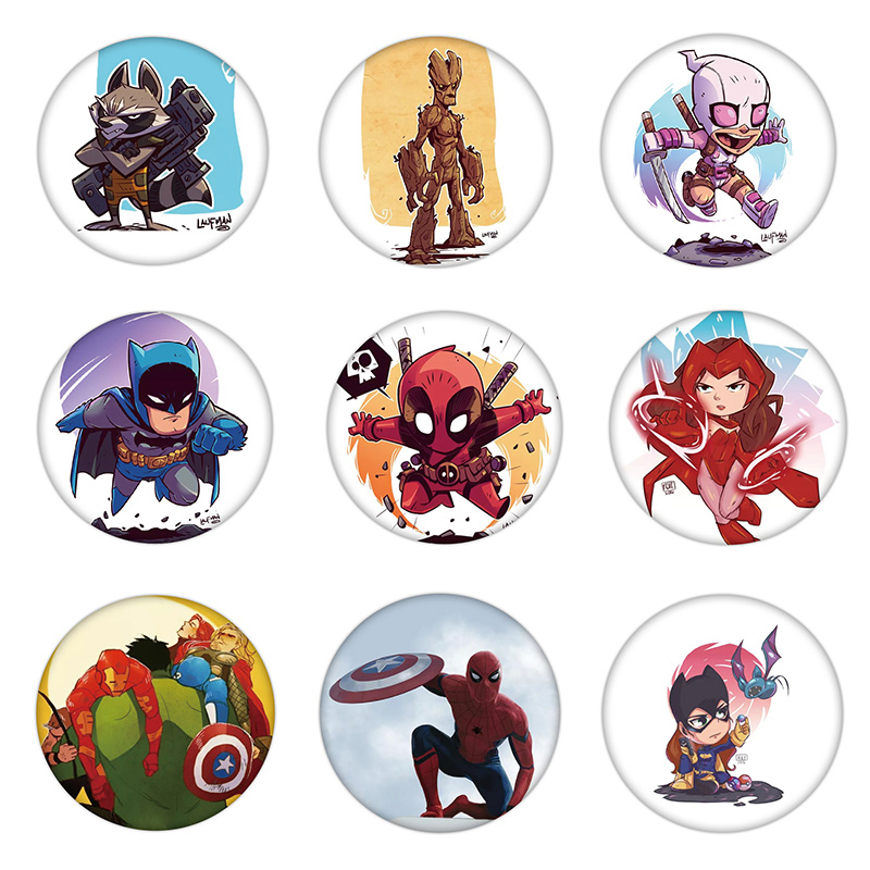 1PCS Cool Accessories Plastic Marvel Hero Icon Brooch Spider Man Bat Man Avengers Badge Fashion Pin For Decoration On Backpack