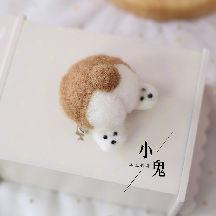 Japanese Shares Brooch Corgi Ass Cute Hand-made Wool Felt Brooch Pin Side Clip Brooch Hairpin Winter Accessories