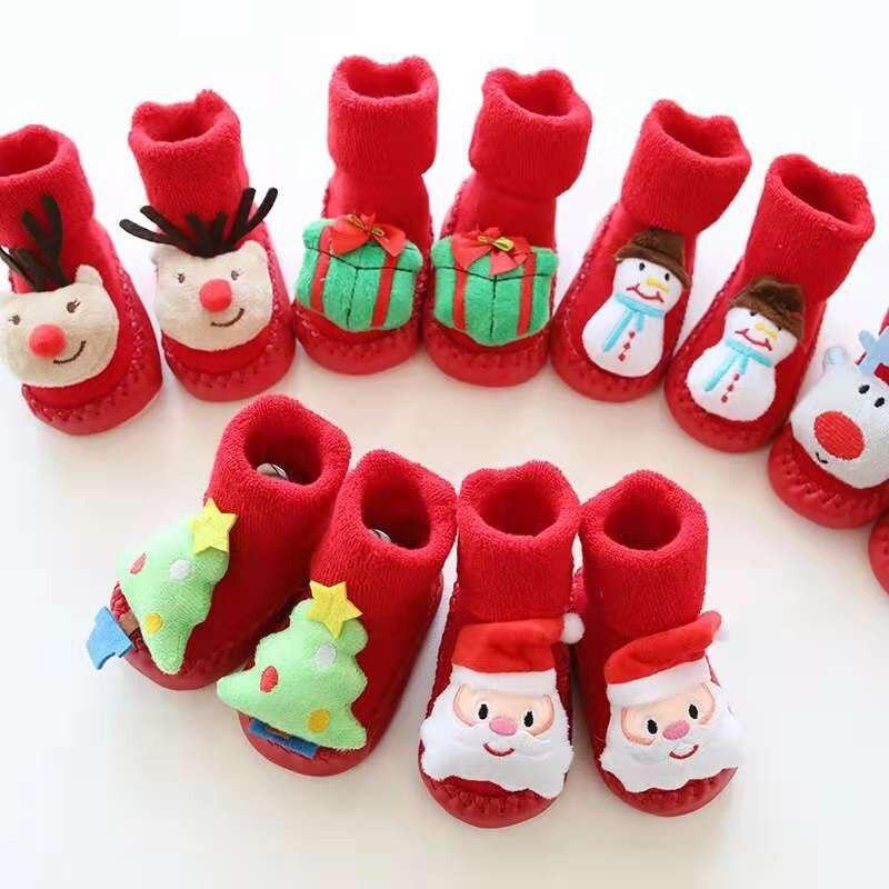 1 Pair Christmas Themed Children Newborn Cotton Cartoon Socks Winter Kids Baby Infant Anti-slip Children Unisex Socks