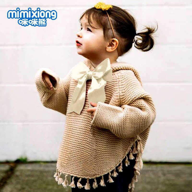 الوليد فتيات صغيرات يتدربن على المشي حك شرابة معطف مقنع سترة شتاء جديد الصلبة القوس شرابة أبلى Bowknot عباءة