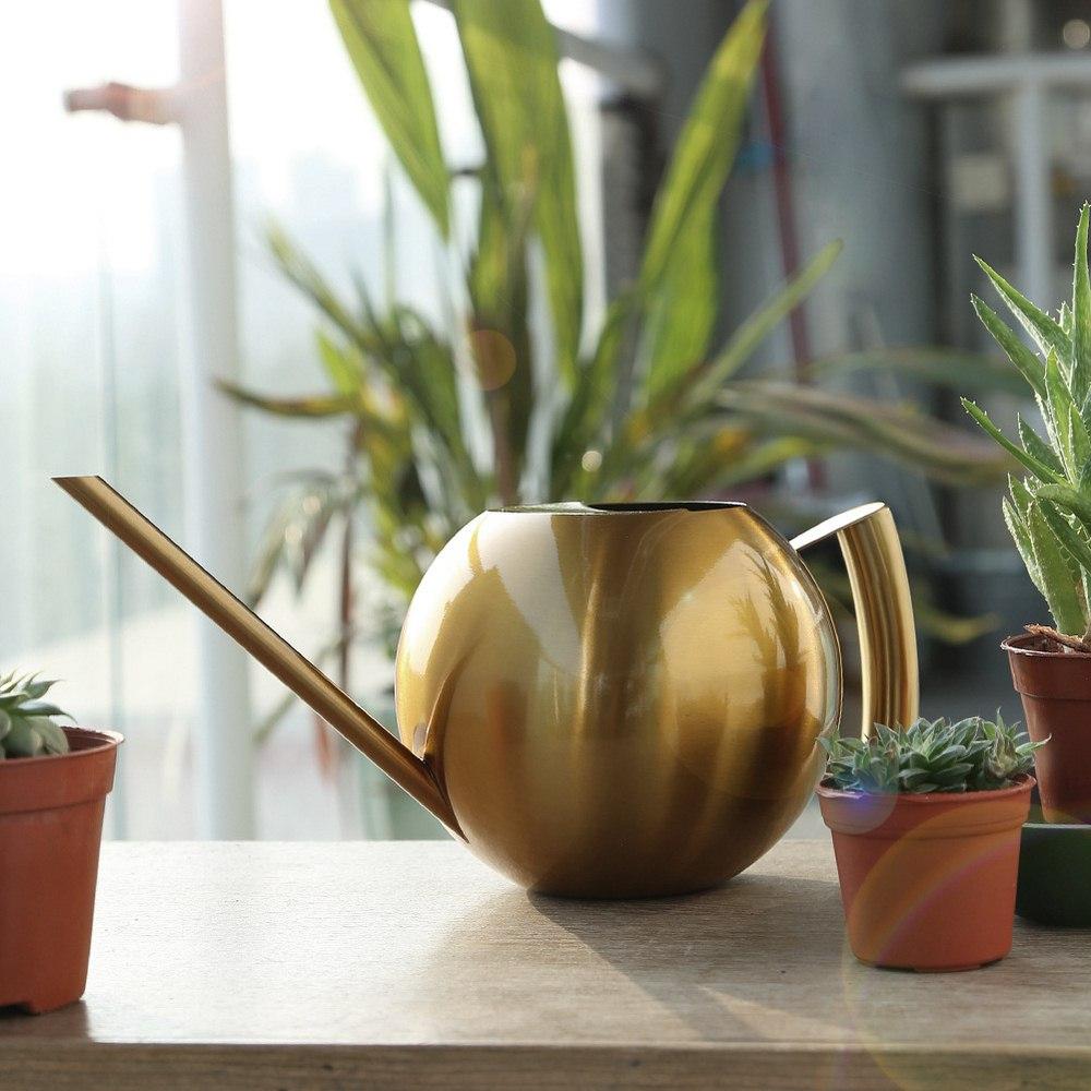 Europeu de aço inoxidável boca longa 1000ml rega pode jardinagem rega chaleira interior suculento vasos plantas rega pote