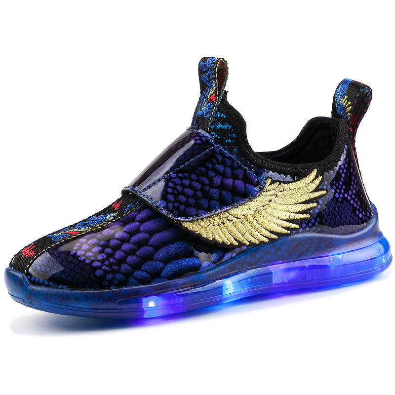 RISRICH Kids Light Shoes With LED For Baby Toddler Boys Glowing Light Up Luminous Sneakers With Wings Kids USB Charging Shoes