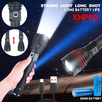 Powerful Aluminum Alloy XHP90 LED Flashlight Rechargeable 3 Modes Torch portable outdoor convenient flashlight torch фонарик