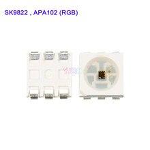 1000 pces sk9822 (apa102 semelhante) leds chips ic smd 5050 rgb para led strip screen dc5v com dados e relógio separadamente contas de lâmpada